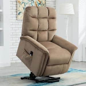 33 in. Width Big and Tall Mocha Microfiber Lift Recliner