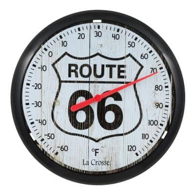 12 in. Classic Round Dial Thermometer -Route 66