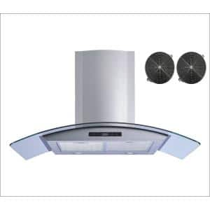30 in. 520 CFM Convertible Stainless Steel/Glass Wall Mount Range Hood with Mesh and Charcoal Filters and Touch Control