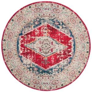 Monaco Ivory/Red 6 ft. 7 in. x 6 ft. 7 in. Round Area Rug