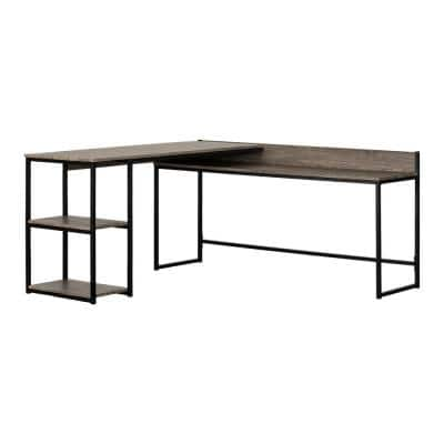 64 in. L-Shaped Oak Camel Computer Desk