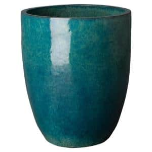 28 in. Tall Round Teal Ceramic Planter