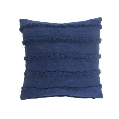 Striped Deep Blue Over Tufted Solid 20 in. x 20 in. Throw Pillow