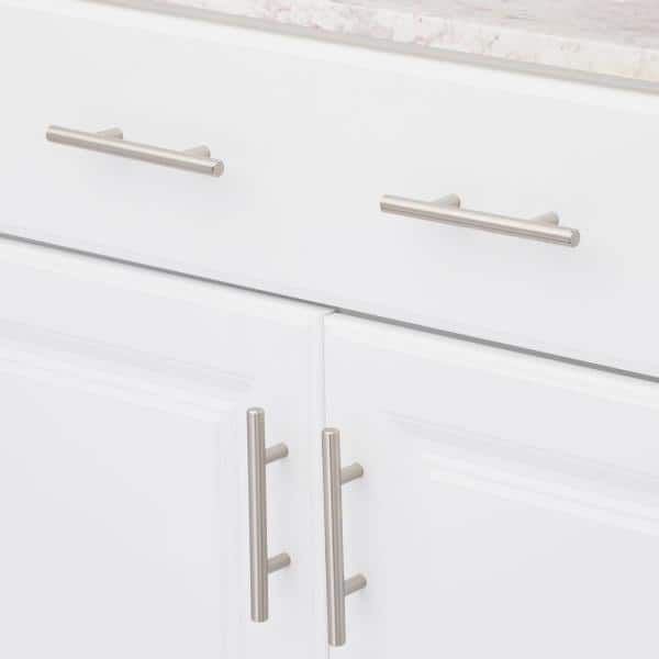 Dynasty Hardware European Style 3 In 76 Mm Center To Center Satin Nickel Bar Cabinet Pull 15 Pack P 1001 Sn 15pk The Home Depot