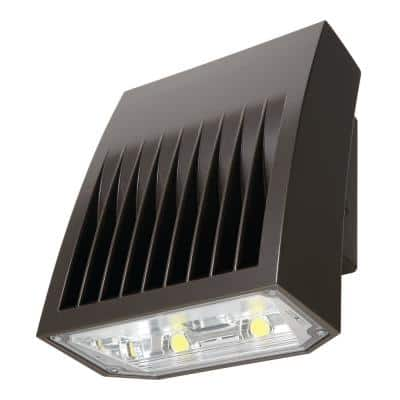Crosstour Carbon Bronze Outdoor Integrated LED Wall Pack and Area Security Light at 6129 Lumens with Full Cutoff Lens