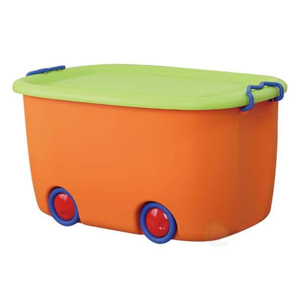 Basicwise Orange and Green Mobile Toy Box | The Home Depot
