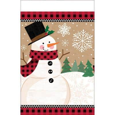102 in. x 54 in. Winter Wonder Rectangular Plastic Table Cover (3-Pack)