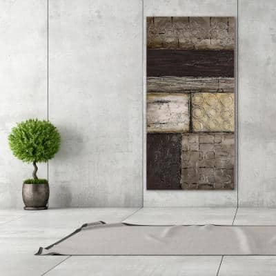 """30 in. x 60 in. """"Stacked 2"""" Textured Metallic Hand Painted by Martin Edwards Wall Art"""