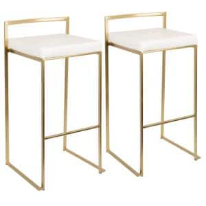 Fuji Gold and White Stackable Bar Stool (Set of 2)