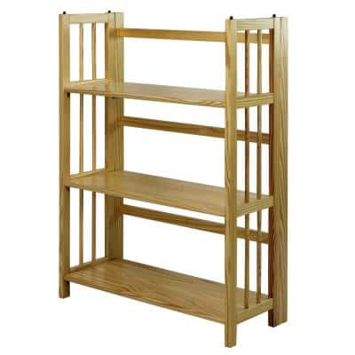 38 in. Natural New Wood 3-Shelf Etagere Bookcase