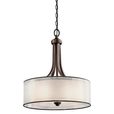 Lacey 4-Light Mission Bronze Pendant Light with Light Umber Translucent Organza Outer Shade