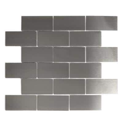Enchanted Metals Silver Mosaic 2 in. x 4 in. Stainless Steel Wall Tile (14 Sq. ft./Case)