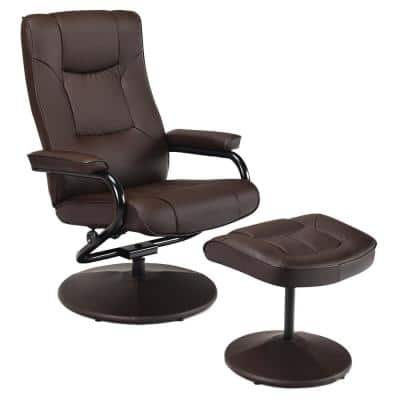 Recliner Home Brown Chair Swivel Armchair Lounge Seat with Footrest Stool Ottoman