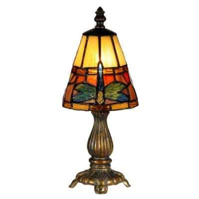 12.75 in. Fieldstone Cavan Accent Lamp with Tiffany Art Glass Shade