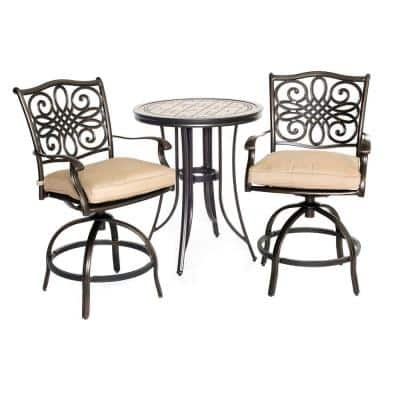 Monaco 3-Piece Metal Round Patio Bistro Set with Natural Oat Cushions