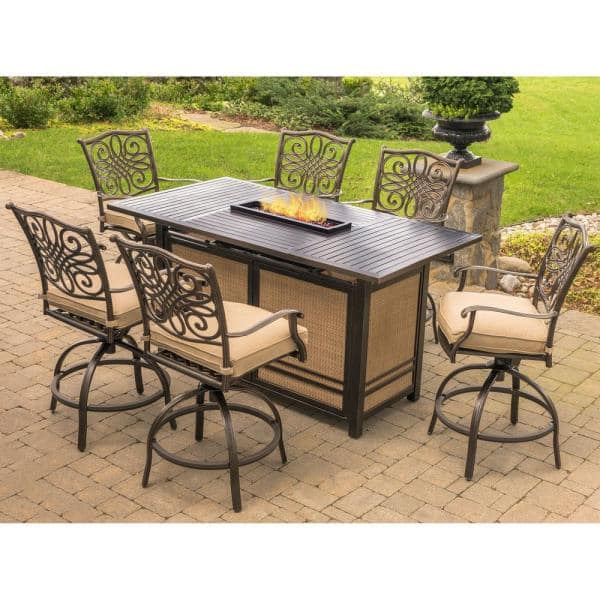 Hanover Traditions 7 Piece Aluminum Rectangular Outdoor High Dining Set With Fire Pit Natural Oat Cushions Trad7pcfpbr The Home Depot