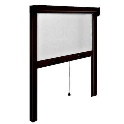 31 in. x 67 in. Adjustable Width/Height Bronze Aluminum Fiberglass Vertically Retractable Window Insect Screen/Framer