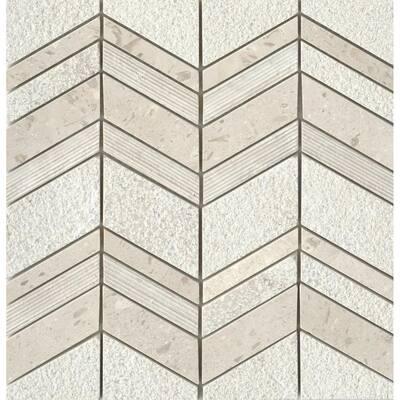 Limestone Presidio Ivory Ivory 11.97 in. x 12.4 in. Chevron Honed Limestone Mosaic Tile (1.031 sq. ft./Each)