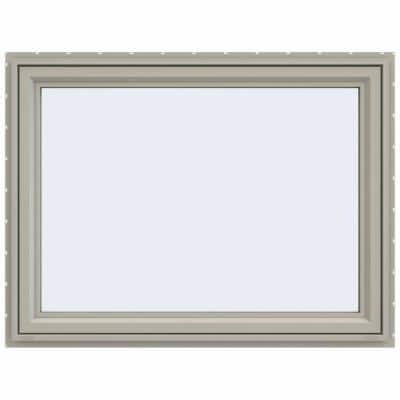 47.5 in. x 35.5 in. V-4500 Series Desert Sand Vinyl Awning Window with Fiberglass Mesh Screen