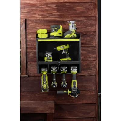 Steel 2-Shelf Wall Mounted Garage Cabinet in Black (17 in W x 11 in H x 19 in D)