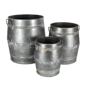 22 in. Grey Metal Farmhouse Planter (3-Pack)