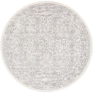 Saul White 7 ft. 10 in. x 7 ft. 10 in. Round Area Rug