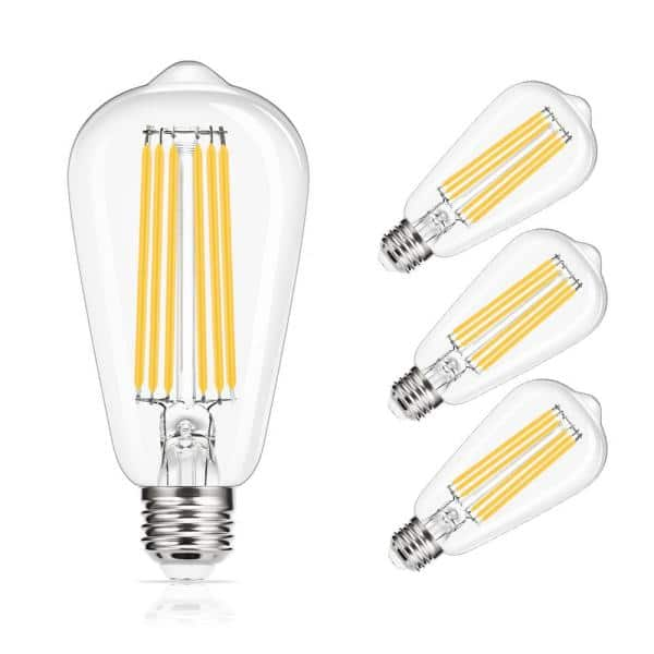 Yansun 150 Watt Equivalent St64 E26 Edison Led Light Bulb In Warm White 4 Pack H Fb02004w15e26 4 The Home Depot