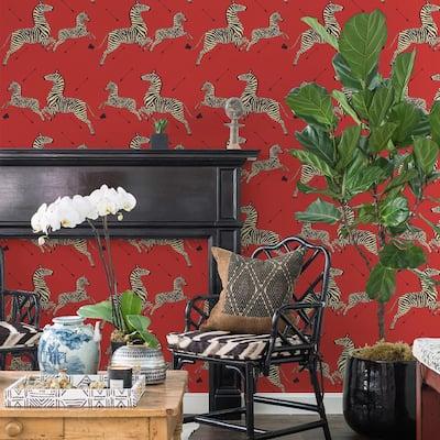 Masai Red Zebra Safari Self Adhesive Wallpaper Sample
