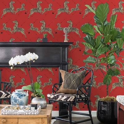 Masai Red Zebra Safari Self Adhesive Wallpaper