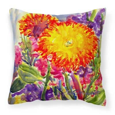 14 in. x 14 in. Multi-Color Lumbar Outdoor Throw Pillow Flower Aster Canvas