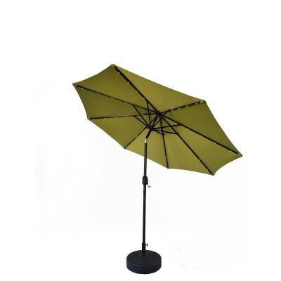 9 ft. Market Solar LED Lighted Patio Umbrella with Push-Button Tilt in Olive