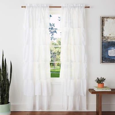 Crisp White Rod Pocket Room Darkening Curtain - 38 in. W x 84 in. L  (Set of 2)