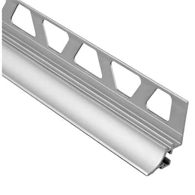 Dilex-AHKA Satin Anodized Aluminum 5/16 in. x 8 ft. 2-1/2 in. Metal Cove-Shaped Tile Edging Trim