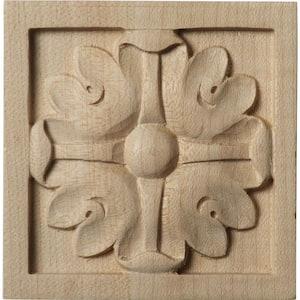 5/8 in. x 3 in. x 3 in. Unfinished Wood Maple Small Edinburgh Rosette