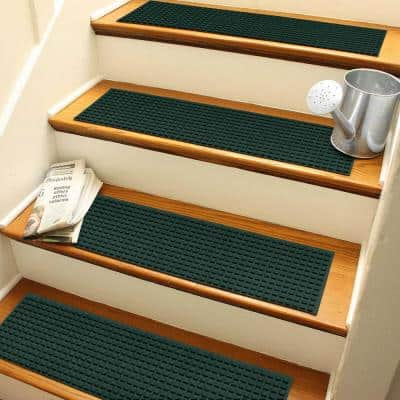 Aqua Shield Squares 8.5 in. x 30 in. Stair Treads (Set of 4) Evergreen
