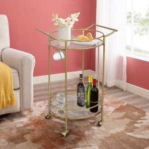 Gold Kitchen Cart with Mirrored Shelves