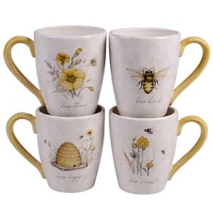 Bee Sweet 4-Piece Seasonal Multicolored Earthenware 22 oz. Mug Set (Service for 4)