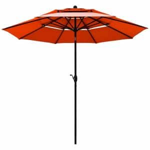10 ft. 3-Tier Aluminum Sunshade Shelter Market Patio Umbrella in Orange with Double Vent