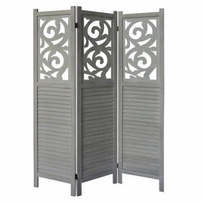 5.5 ft. Distressed White 3-Panel Wooden Room Divider Privacy Screen with Scrolled Cut Out and Shutter Design