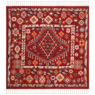 Farmhouse Red/Ivory 6 ft. x 6 ft. Square Floral Area Rug