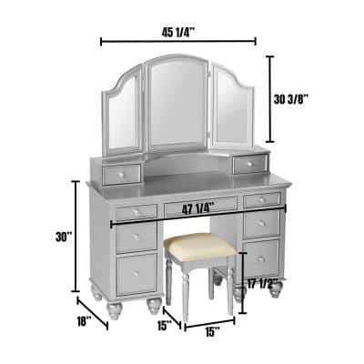 Athy Silver Vanity with Stool Included 9-Storage Drawers, Knob Pulls and 3-Sided Mirror