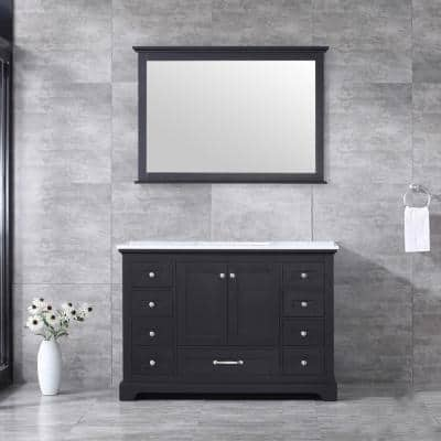 Dukes 48 Inch Single Bathroom Vanity in Espresso with Top and Mirror