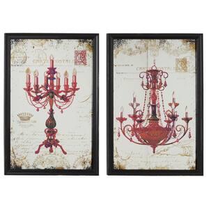 "18"" x 28"" Large Metallic Red Candelabra & Chandelier Wall Art on Iron Panels, Set of 2"
