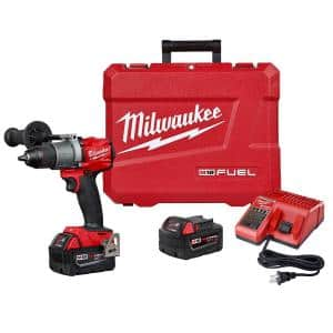 M18 FUEL 18-Volt Lithium-Ion Brushless Cordless 1/2 in. Drill / Driver Kit W/(2) 5.0Ah Batteries, Charger, and Hard Case