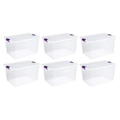 66 Qt. Latching Handle Storage Container in Nesting Clear (6-Pack)