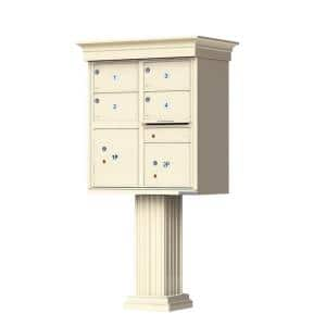 1570 Series 4-Large Mailboxes, 1-Outgoing, 2-Parcel Lockers, Vital Cluster Box Unit with Vogue Classic Accessories