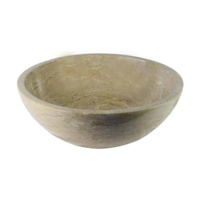 Round Marble Stone Vessel Sink in Fossil