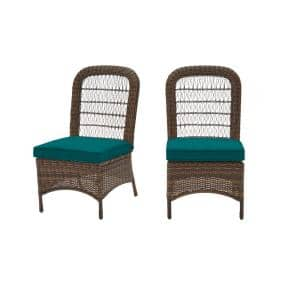 Beacon Park Brown Wicker Outdoor Patio Armless Dining Chair with Sunbrella Peacock Blue-Green Cushions (2-Pack)
