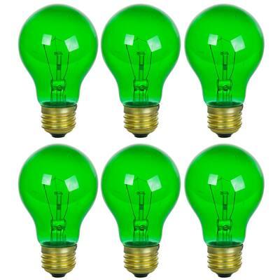 25-Watt A19 Green Transparent Edison Incandescent Light Bulb (6-Pack)