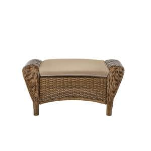 Beacon Park Brown Wicker Outdoor Patio Ottoman with Sunbrella Beige Tan Cushions